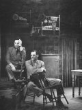 Director Elia Kazan and Playwright Arthur Miller Sitting on Broadway Set of Death of a Salesman