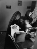 Algerian Messabaa Woman  with Child  Voting on the Passing of the New French Constitution