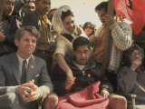 Robert F Kennedy Sitting Next to Cesar Chavez During Rally for the United Farm Workers Union