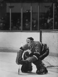 Canadian Jacques Plante Wearing Mask to Protect Face from Injuries During Ice Hockey Game