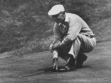 Golfer Ben Hogan Lining Up His Putt