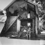 Shell of a House Destroyed by Flood