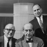 Builder Emory Roth  Erwin Wolfson  and Architect Walter Gropius with Grand Central Building Model