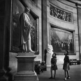 Two Girl Scouts Looking Up at Marble Statue of Abraham Lincoln  Rotunda of the Capitol Building