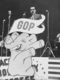 GOP Candidate Richard M Nixon Campaigning with the GOP Poster Profiling in Front of Him