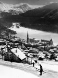 Snow-Covered Winter-Resort Village St Moritz