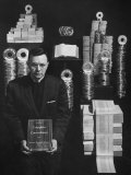 Rev John W Ellison Standing Amid Univac Tapes Used in Printing a Word Index of the Bible