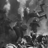 Propman Helping Seaweed Harvest During Underwater Filming of Disney's 20,000 Leagues Under the Sea Papier Photo par Peter Stackpole