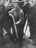Budapest Boys from Twelve to Late Teens Carrying Rifles  Fighting During Hungarian Revolution