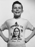 Little Boy Modeling Sitting Bull T-Shirt
