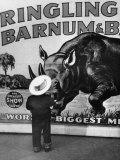 Boy Standing in Front of Stampeding Rhinoceros on Ringling Bros Poster  Madison Square Garden