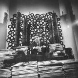 DJ William B Williams Sitting Amid the 8 000 Records a DJ Receives Each Year from Record Companies