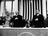 Pres Dwight D Eisenhower and Vice Pres Richard M Nixon  Watching the Inauguration Parade