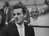 Canadian Goalie Jacques Plante Displays Latest Face Stitches Received in Cause of Rough Hockey Game