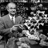 Cal Tech Chemistry Professor  Dr Linus Pauling with His Mineral Collection