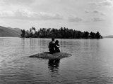Private Island  Young Couple Embracing on a Small Rock Protruding from the Waters of Lake George