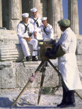 US Sailors Taking Photo at Greek Ruins