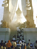 Haze of Smoke Enveloping Bier of Laotian King Sisavang Vong