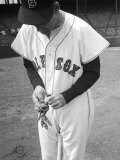 Ted Williams Putting on His Batting Gloves