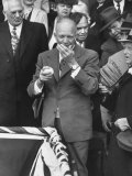 Pres Dwight D Eisenhower  Applying a Wet Whammy to First Official Baseball of Washington Season