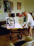 Pablo Picasso Arranging Displays of His Paintings at His Home in Notre-Dame-De-Vie  Mougins