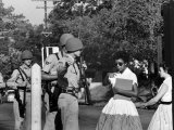 Teenager Elizabeth Eckford Turned Away From Entering Central High School by Arkansas Guardsmen