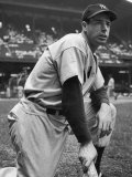 Baseball Player Joe Di Maggio Kneeling in His New York Yankee Uniform