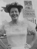 Country and Western Star Minnie Pearl Posing in Front of One of Her Chicken Restaurants