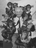 Zoo Director  George P Vierheller  Visiting His Performing Chimps