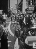 Giants Player Willie Mays Riding in Parade Prior to Opening Game