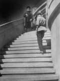 Russian Men Dressed in Tunics Standing on the Steps of a Workers Club