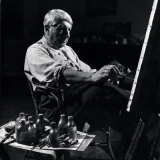Italian Painter Giorgio De Chirico at Work in His Studio