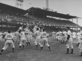 Baseball Players Catch Ball Thrown by Pres Harry S Truman at Opening Game for Washington Senators