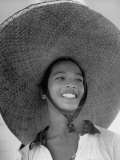 Caroline Native Boy Wearing Huge Straw Hat Made of Pandanus Fiber
