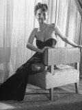 Singer Actress Julie London Sitting in a Strapless Gown Backwards on Chair