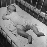 Baby Sleeping on its Stomach in Nursery at St Vincent's Hospital
