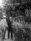 French Painter Claude Monet and Gustave Geffroy Walking in Monet's Garden