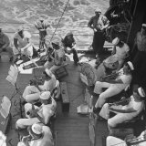 Members of Ship's Band Aboard US Navy Cruiser Playing on Deck  Daily Musical Practice During WWII