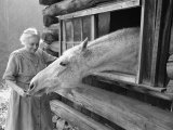 Mrs Mary Breckenridge Runs the Frontier Nursing Service  Petting Her Horse