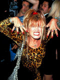 Designer Betsey Johnson Baring Teeth in Cat Pose at Party for Helmut Newton  Barneys Clothing Store