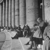 Old Italian Women Knitting While They Socialize in the Colonade of St Peter's Square  Vatican City