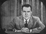 "GOP VP Candidate Richard M Nixon Giving His ""Checkers"" Speech on TV"