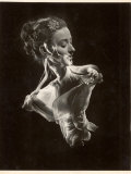 Double Exposure of Model Wearing Swirling Evening Dress  1946