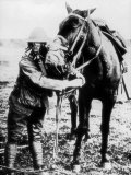 American Soldier and Horse Demonstrating Use of Gas Masks  During WWI