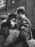 Soldier Consoling Wife as He Says Goodbye at Penn Station before Returning to Duty  WWII