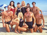 Cast of Syndicated Tv Series Baywatch Filming an Episode in Huntington Beach  Ca