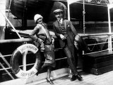 Actress Greta Garbo and Director Mauritz Stiller  Standing on Deck of Ocean Liner Drottningholm