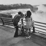 Honeymoon Couple  Colman Laposa Jr and Wife  Gazing at the Niagara Falls
