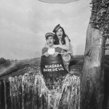Honeymoon Couple  Colman Laposa Jr and Wife  Posing in Fake Barrel
