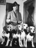 Mrs William Dupont Jr Holding Reins of Four Beagles That Belonged to Her Late Husband
